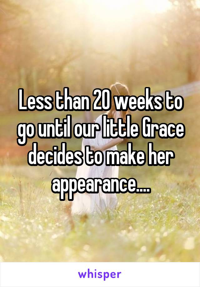 Less than 20 weeks to go until our little Grace decides to make her appearance....