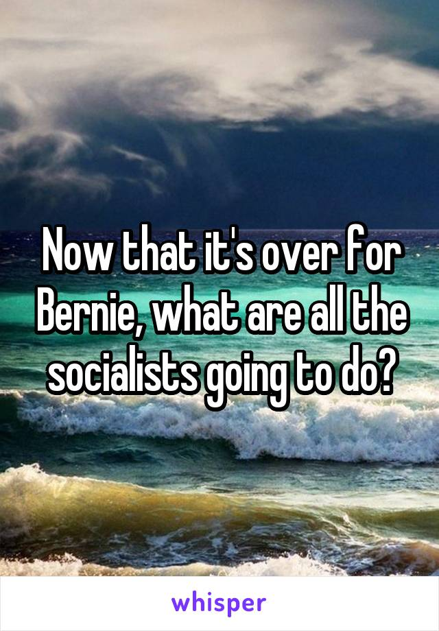Now that it's over for Bernie, what are all the socialists going to do?
