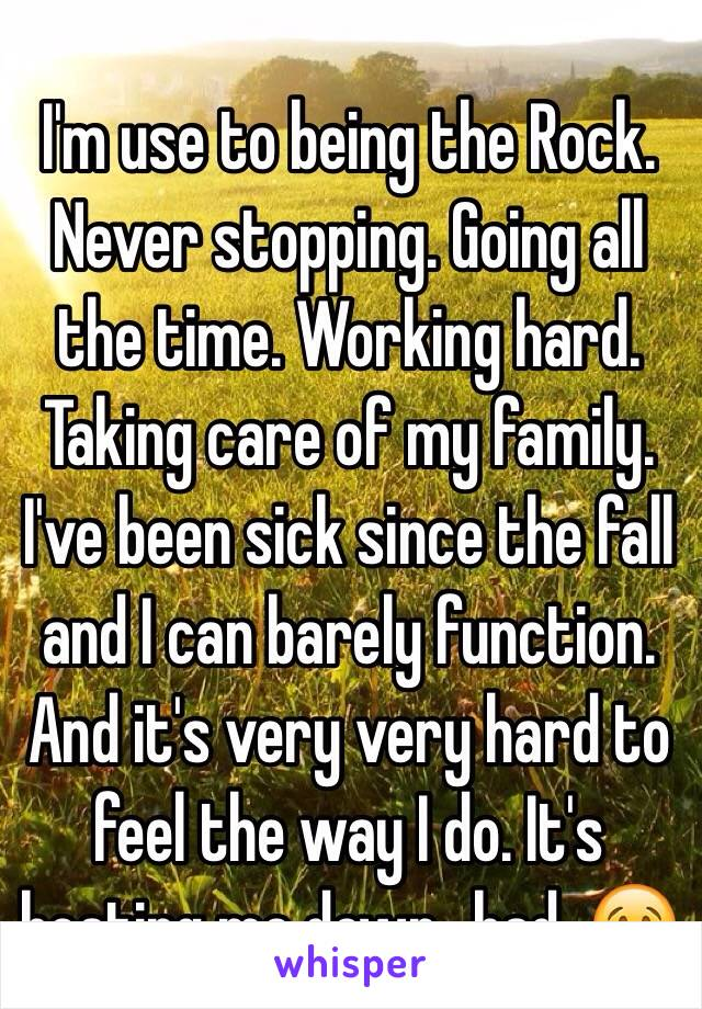I'm use to being the Rock. Never stopping. Going all the time. Working hard. Taking care of my family. I've been sick since the fall and I can barely function. And it's very very hard to feel the way I do. It's beating me down...bad. 😢