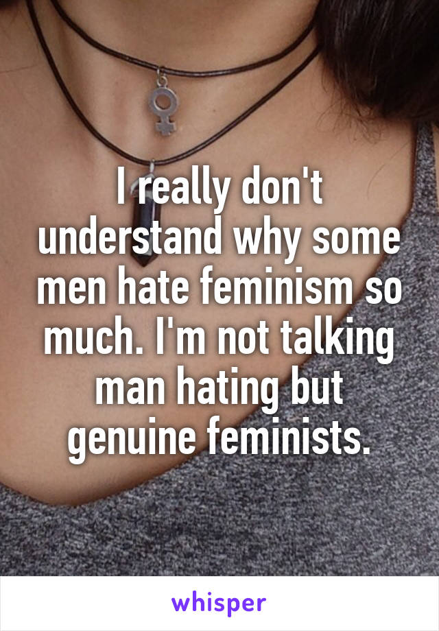 I really don't understand why some men hate feminism so much. I'm not talking man hating but genuine feminists.