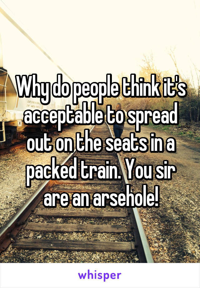 Why do people think it's acceptable to spread out on the seats in a packed train. You sir are an arsehole!