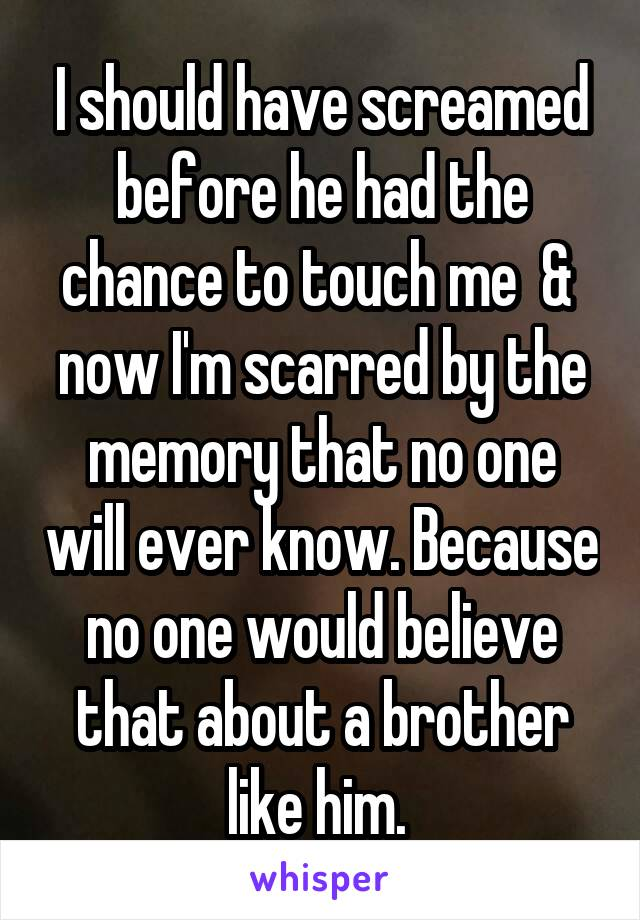 I should have screamed before he had the chance to touch me  &  now I'm scarred by the memory that no one will ever know. Because no one would believe that about a brother like him.
