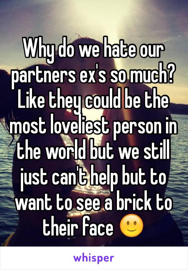 Why do we hate our partners ex's so much? Like they could be the most loveliest person in the world but we still just can't help but to want to see a brick to their face 🙂