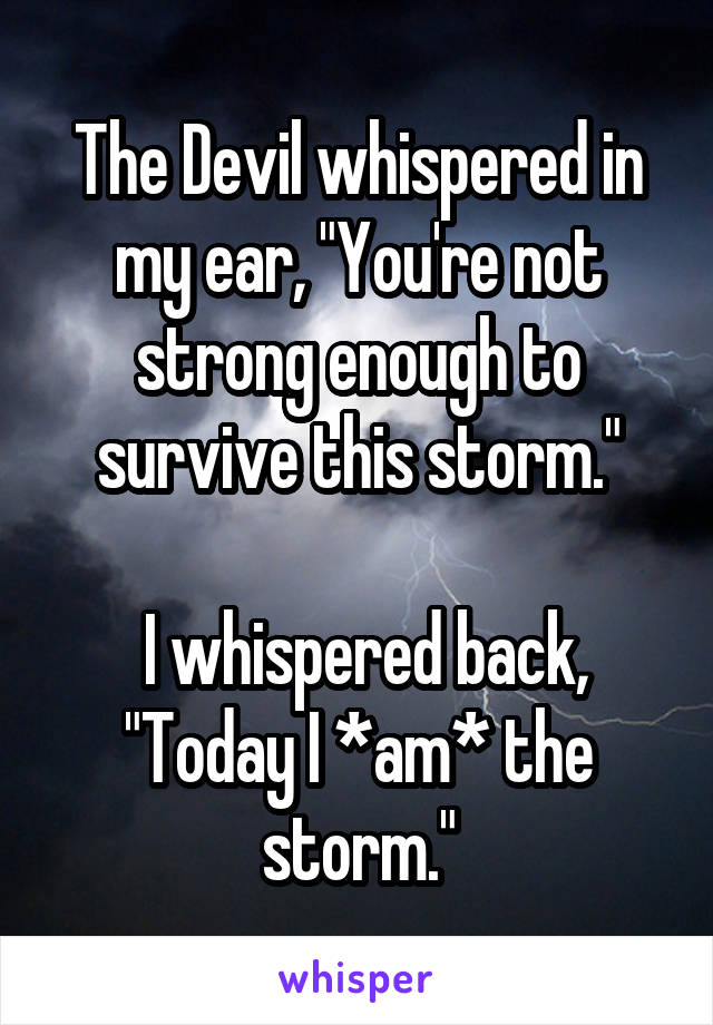 "The Devil whispered in my ear, ""You're not strong enough to survive this storm.""   I whispered back, ""Today I *am* the storm."""