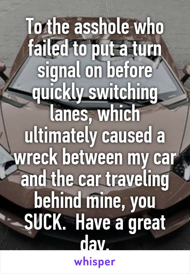 To the asshole who failed to put a turn signal on before quickly switching lanes, which ultimately caused a wreck between my car and the car traveling behind mine, you SUCK.  Have a great day.