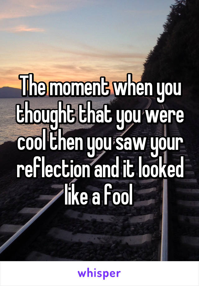 The moment when you thought that you were cool then you saw your reflection and it looked like a fool