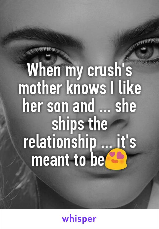 When my crush's mother knows I like her son and ... she ships the relationship ... it's meant to be😍