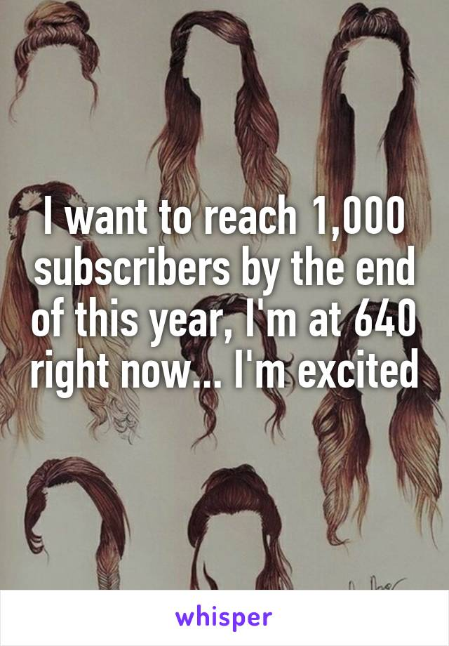 I want to reach 1,000 subscribers by the end of this year, I'm at 640 right now... I'm excited