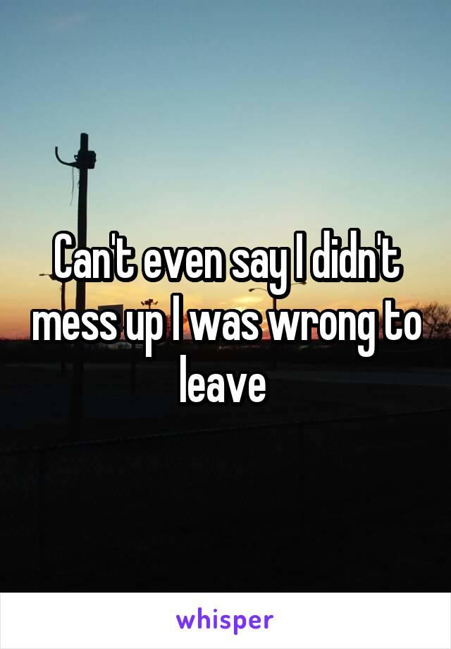 Can't even say I didn't mess up I was wrong to leave