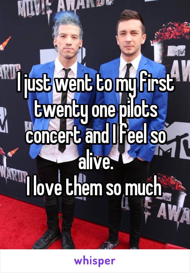 I just went to my first twenty one pilots concert and I feel so alive. I love them so much