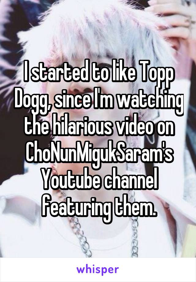 I started to like Topp Dogg, since I'm watching the hilarious video on ChoNunMigukSaram's Youtube channel featuring them.