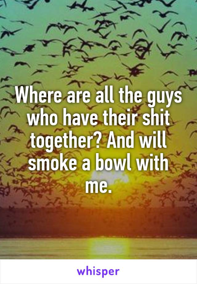 Where are all the guys who have their shit together? And will smoke a bowl with me.