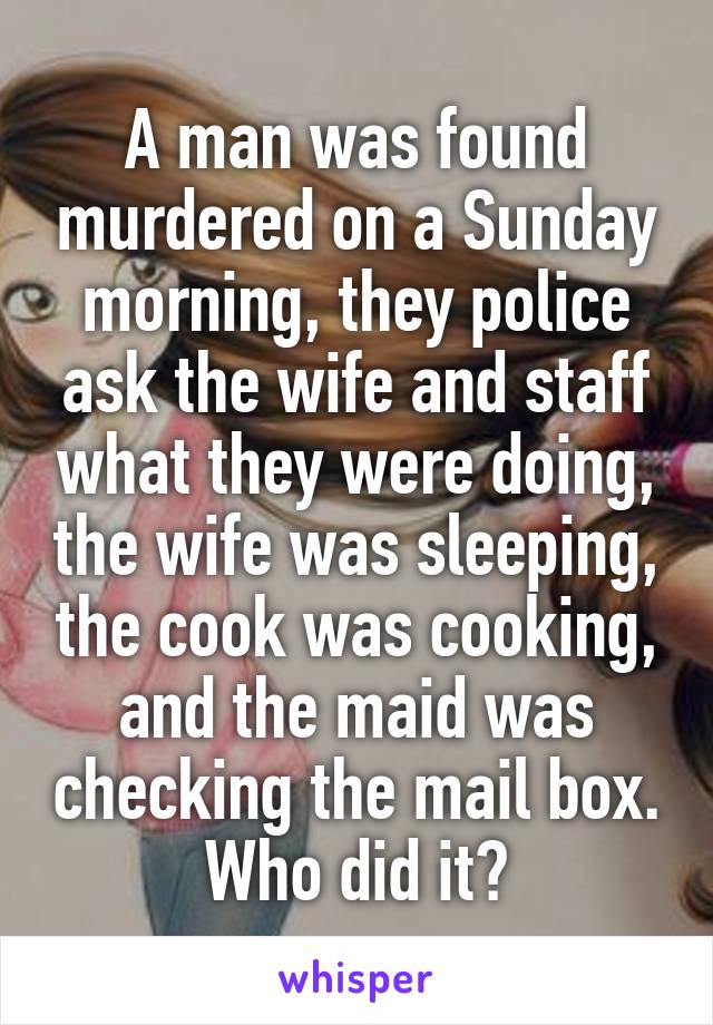 a murder on a sunday morning essay Find essay examples essays on criminolgical review of murder on a sunday murder on a sunday morning introduction this case study involves an assessment.