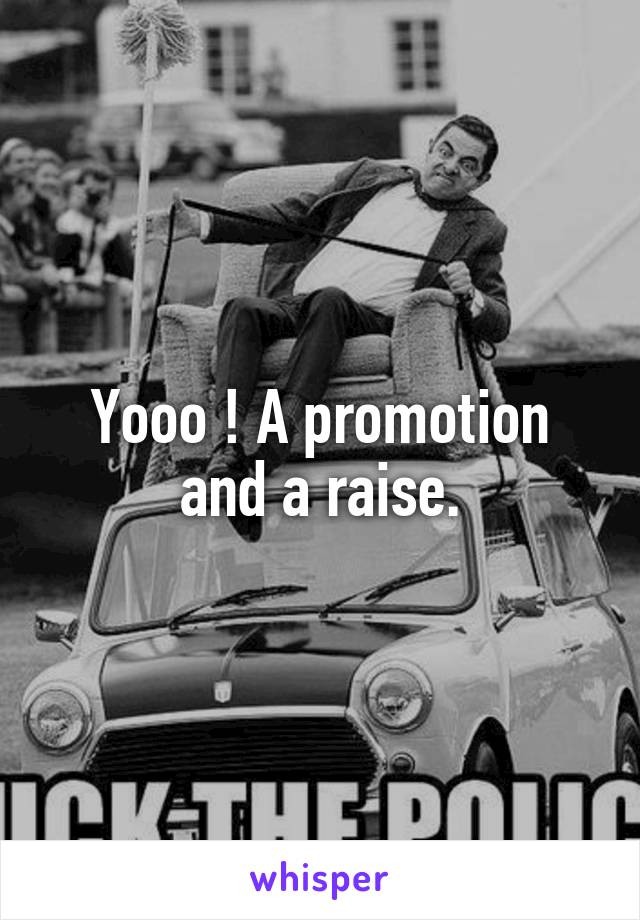 Yooo ! A promotion and a raise.