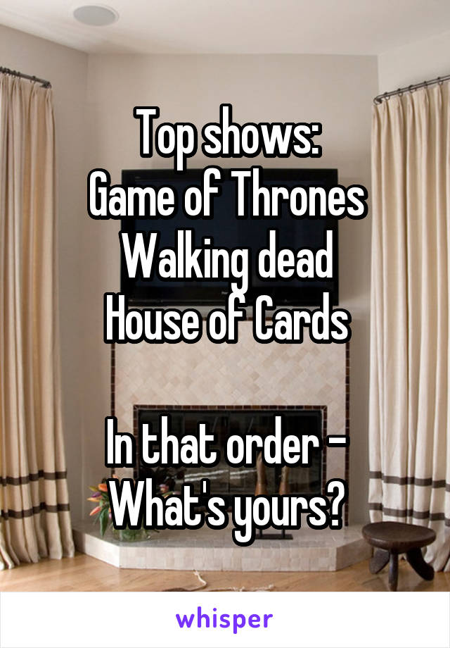 Top shows: Game of Thrones Walking dead House of Cards  In that order - What's yours?