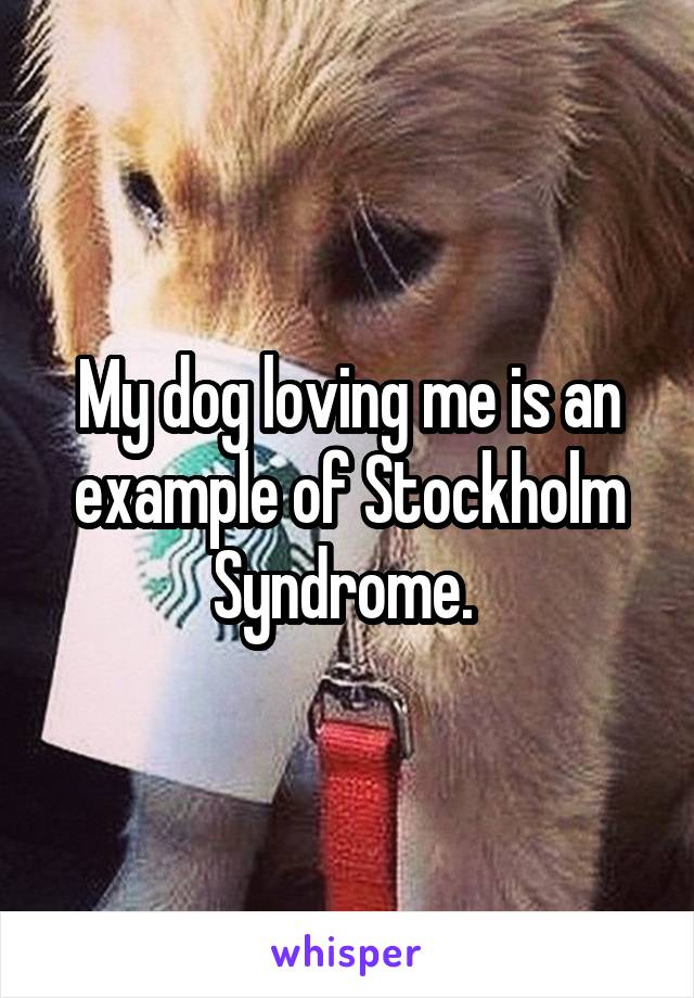 My dog loving me is an example of Stockholm Syndrome.