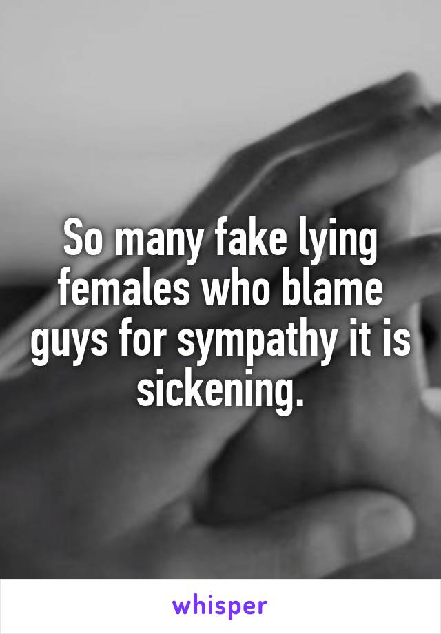 So many fake lying females who blame guys for sympathy it is sickening.