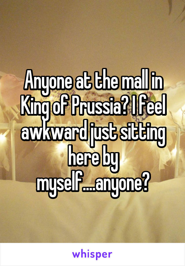 Anyone at the mall in King of Prussia? I feel awkward just sitting here by myself....anyone?