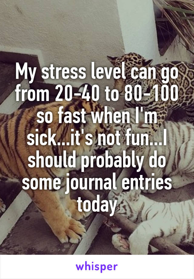 My stress level can go from 20-40 to 80-100 so fast when I'm sick...it's not fun...I should probably do some journal entries today