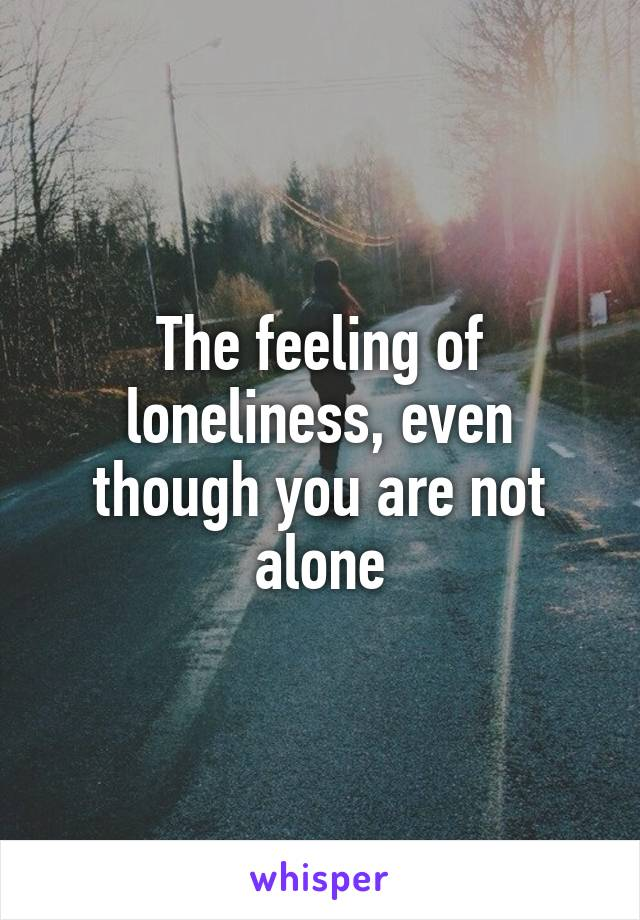The feeling of loneliness, even though you are not alone