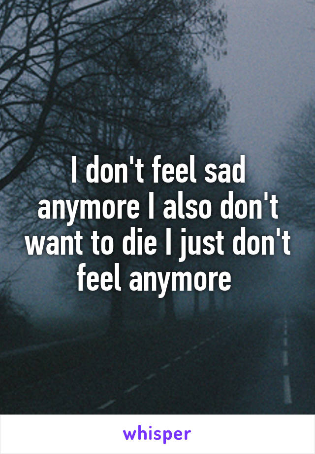 I don't feel sad anymore I also don't want to die I just don't feel anymore