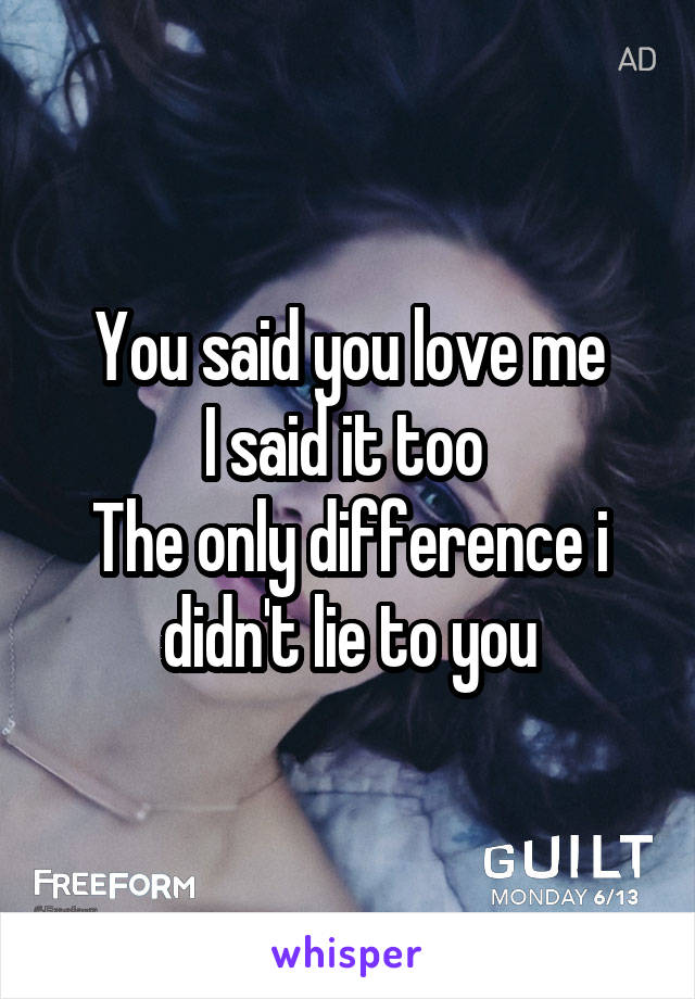 You said you love me I said it too  The only difference i didn't lie to you