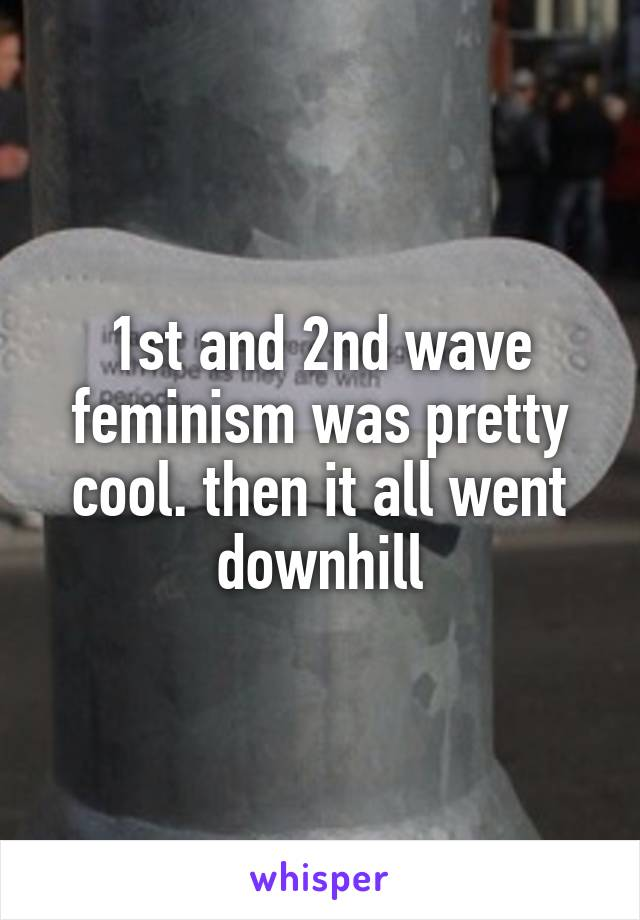 1st and 2nd wave feminism was pretty cool. then it all went downhill