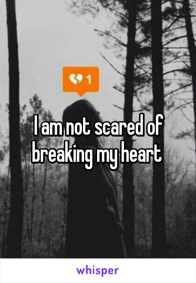 I am not scared of breaking my heart