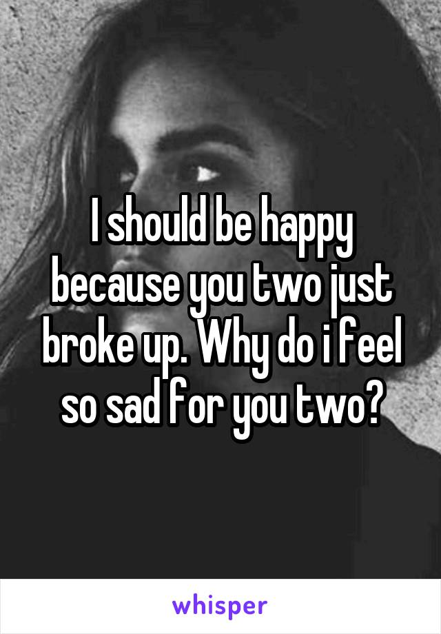 I should be happy because you two just broke up. Why do i feel so sad for you two?