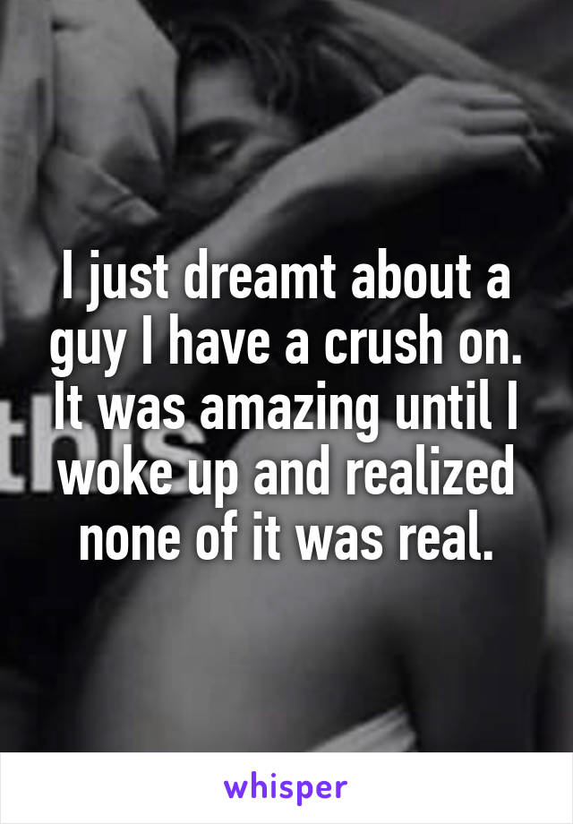 I just dreamt about a guy I have a crush on. It was amazing until I woke up and realized none of it was real.