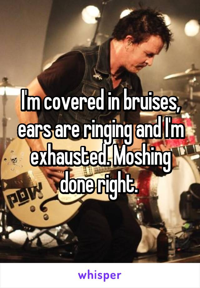 I'm covered in bruises, ears are ringing and I'm exhausted. Moshing done right.