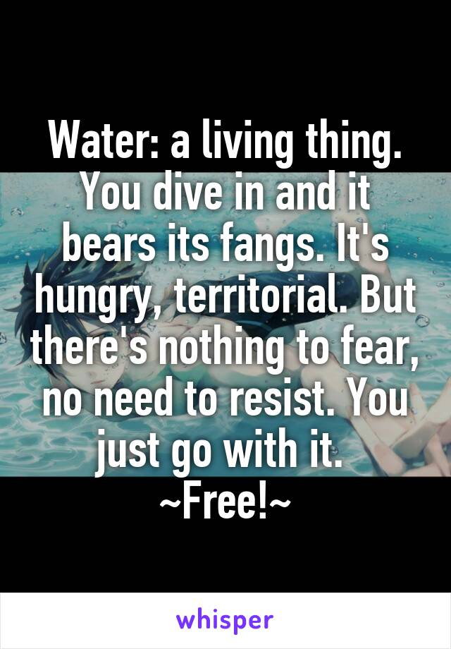 Water: a living thing. You dive in and it bears its fangs. It's hungry, territorial. But there's nothing to fear, no need to resist. You just go with it.  ~Free!~