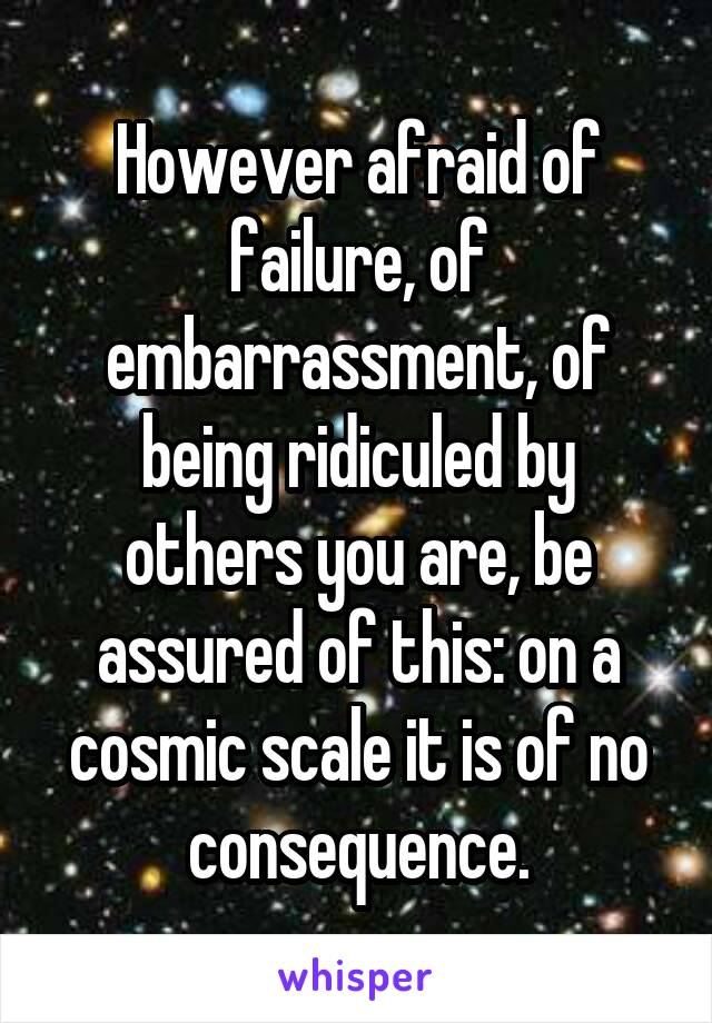 However afraid of failure, of embarrassment, of being ridiculed by others you are, be assured of this: on a cosmic scale it is of no consequence.