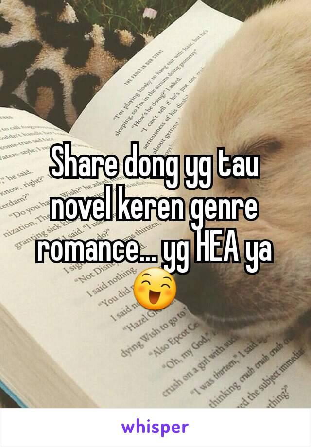 Share dong yg tau novel keren genre romance... yg HEA ya 😄