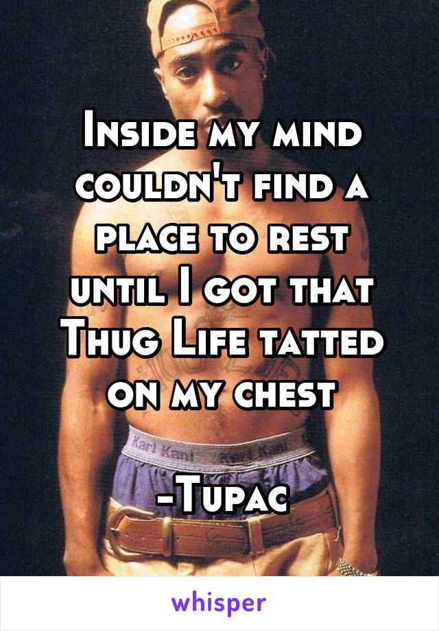 Inside my mind couldn't find a place to rest until I got that Thug Life tatted on my chest  -Tupac