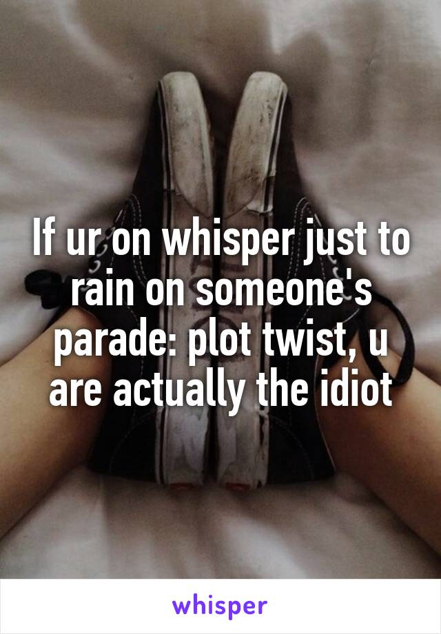If ur on whisper just to rain on someone's parade: plot twist, u are actually the idiot