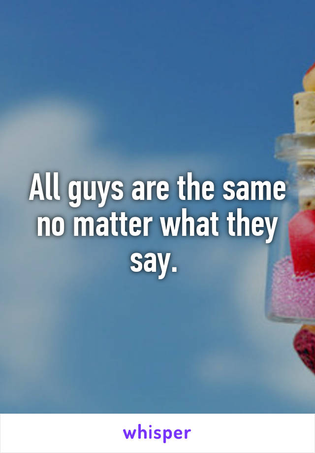 All guys are the same no matter what they say.