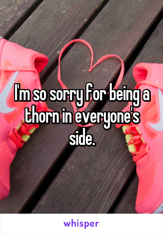 I'm so sorry for being a thorn in everyone's side.