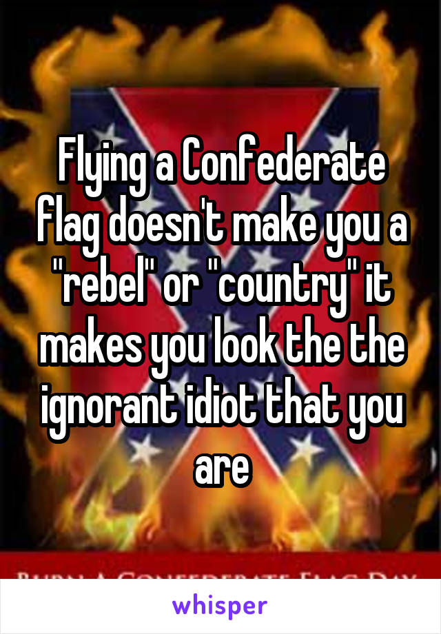 """Flying a Confederate flag doesn't make you a """"rebel"""" or """"country"""" it makes you look the the ignorant idiot that you are"""