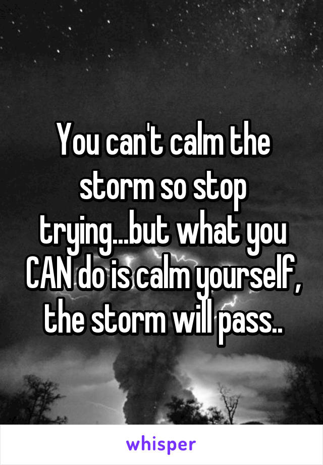 You can't calm the storm so stop trying...but what you CAN do is calm yourself, the storm will pass..