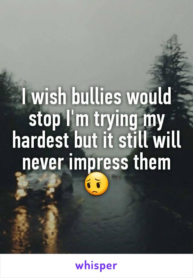 I wish bullies would stop I'm trying my hardest but it still will never impress them 😔