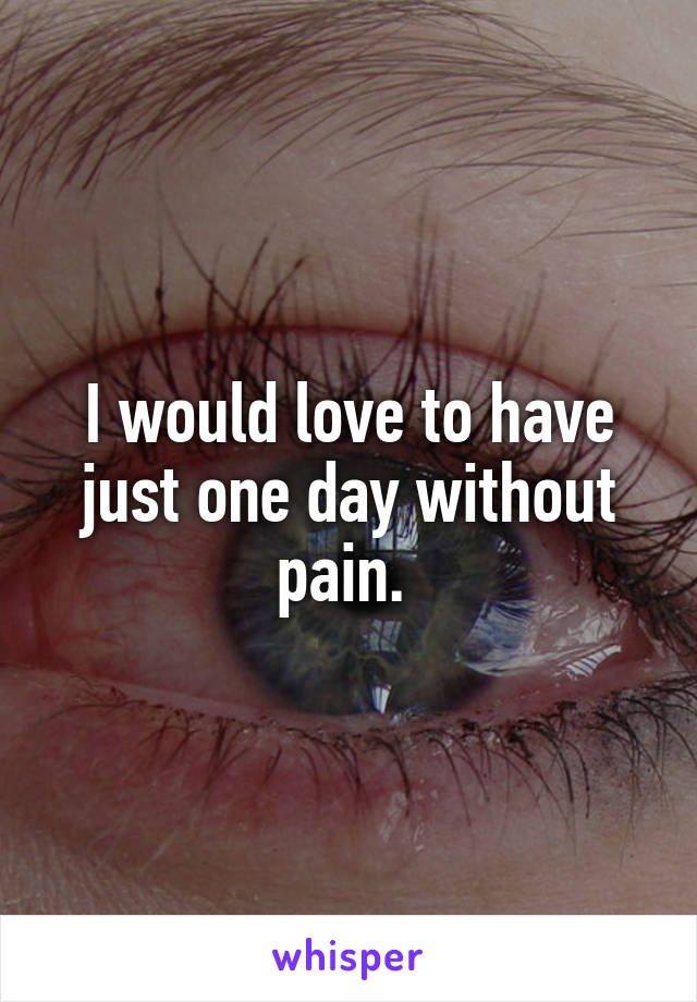 I would love to have just one day without pain.