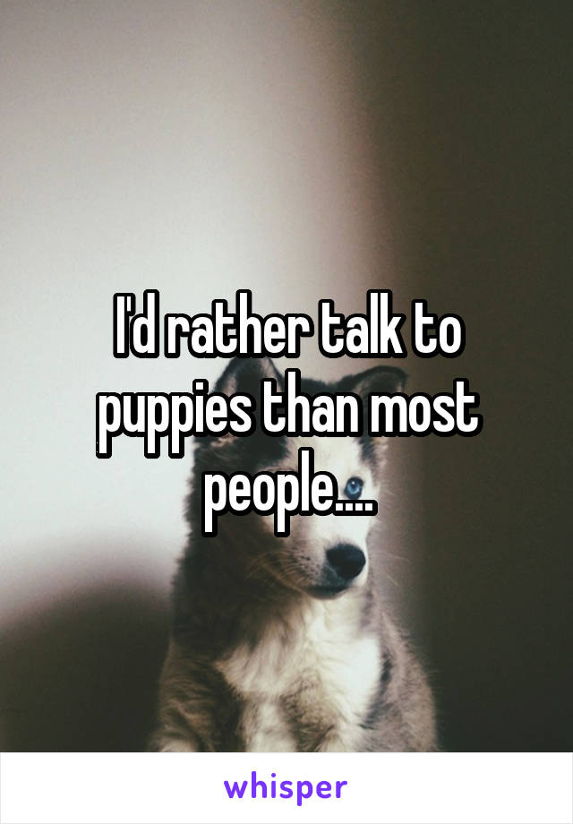 I'd rather talk to puppies than most people....