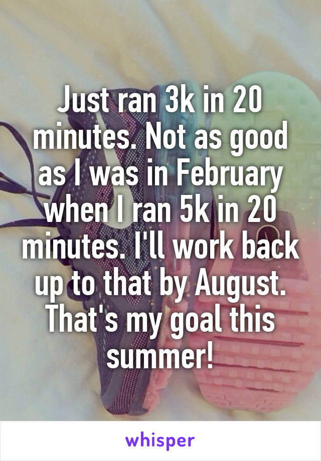 Just ran 3k in 20 minutes. Not as good as I was in February when I ran 5k in 20 minutes. I'll work back up to that by August. That's my goal this summer!