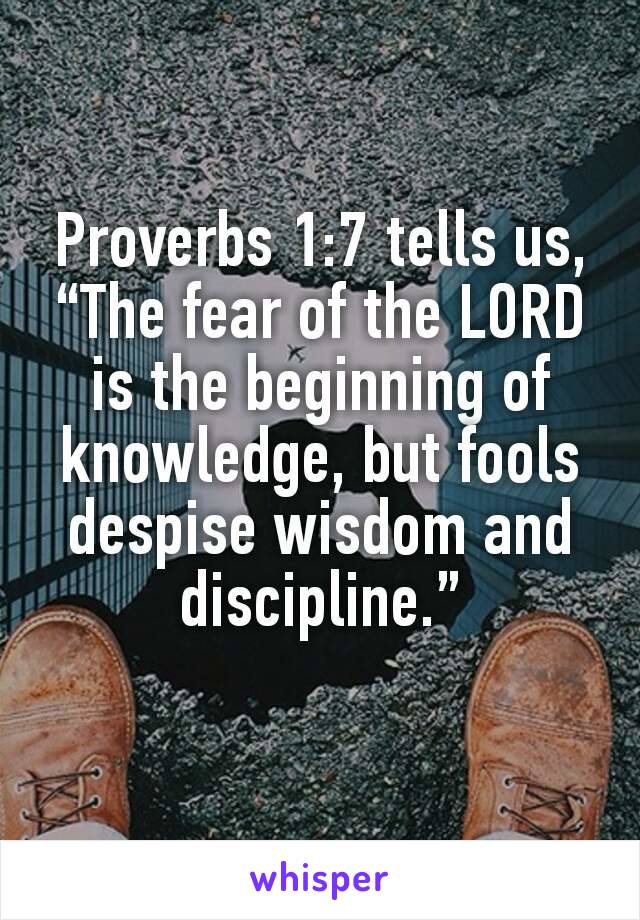 """Proverbs 1:7tells us, """"The fear of the LORD is the beginning of knowledge, but fools despise wisdom and discipline."""""""