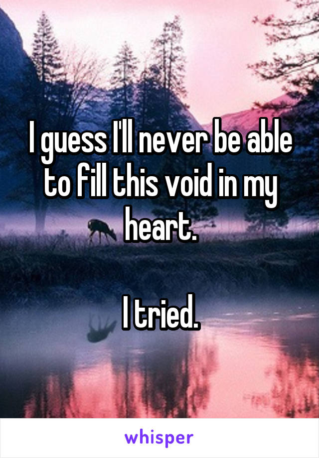 I guess I'll never be able to fill this void in my heart.  I tried.