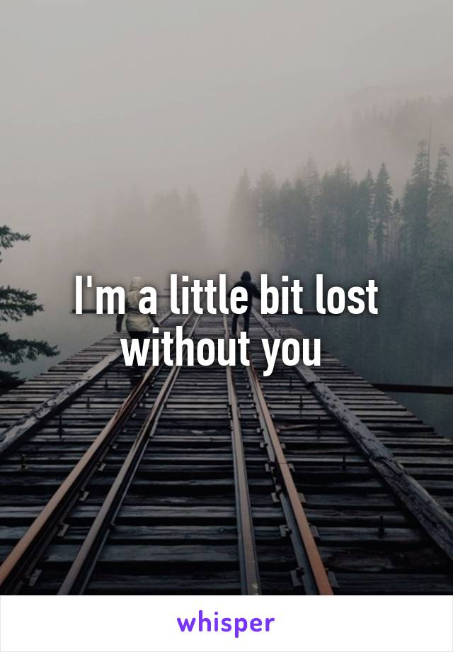 I'm a little bit lost without you