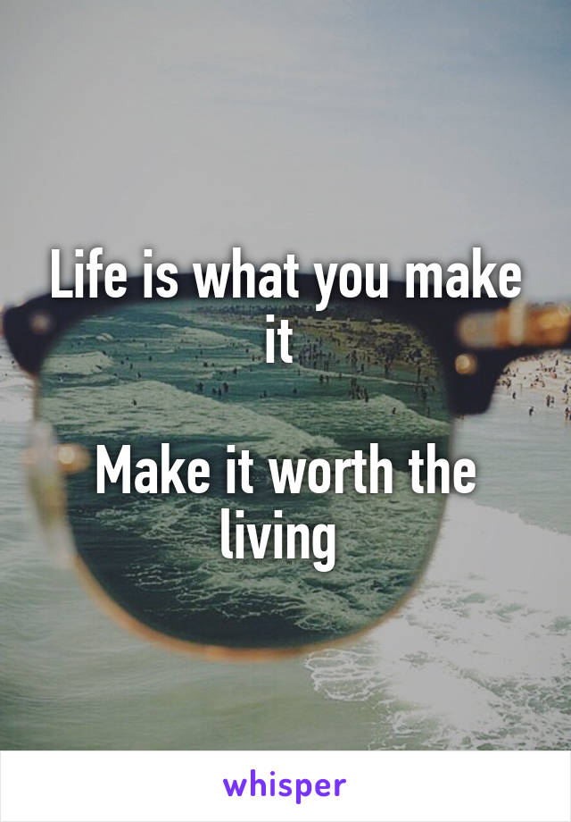 Life is what you make it   Make it worth the living