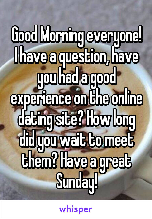Good Morning everyone! I have a question, have you had a good experience on the online dating site? How long did you wait to meet them? Have a great Sunday!