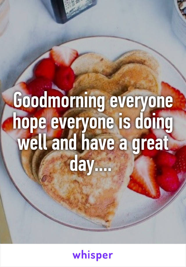 Goodmorning everyone hope everyone is doing well and have a great day....